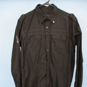 Guess Black Casual Button Down Medium Dress Shirt